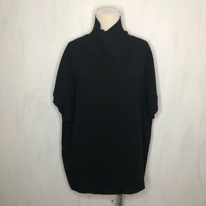 Vince Black Ribbed Funnel Neck Crepe Top L